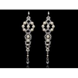 K138 Kolczyki długie z kryształami i perłami Swarovski®
