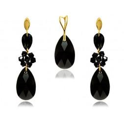 KP69 Komplet biżuterii  z kryształami Swarovski® pozłacany czarny