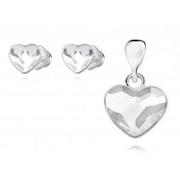 Komplet serca z kryształami Swarovski® crystal